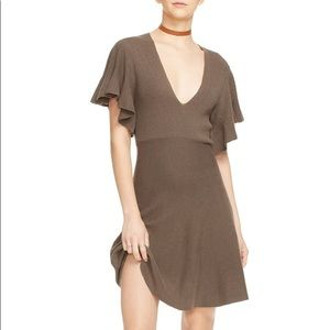 Free People Cozy night olive green flutter dress